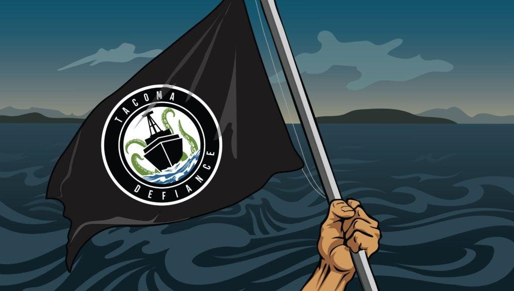 Illustration of Tacaoma Defiance flag waving over Puget Sound