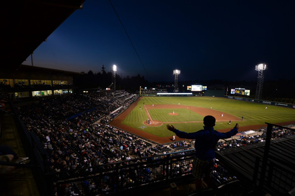 Cheney Stadium at night