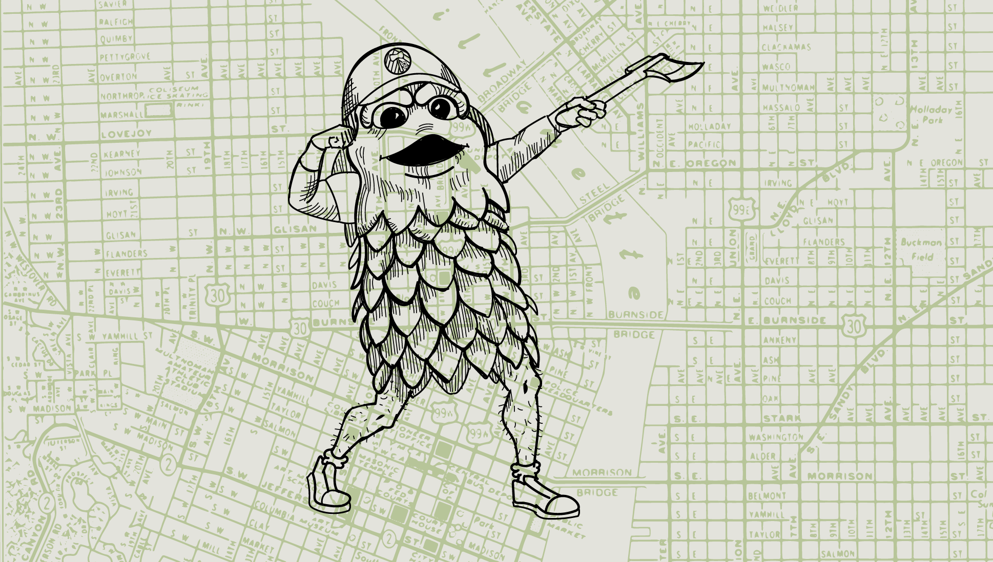 Map of Portland, Oregon with the Barley of the Hillsboro Hops