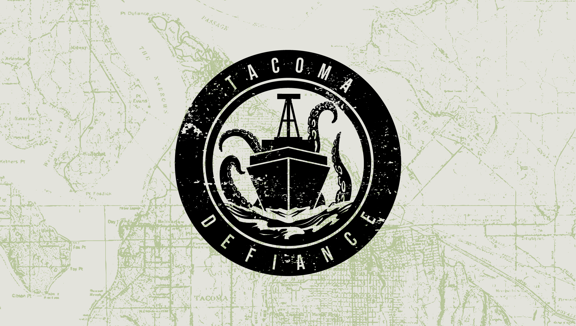 Map of Tacoma with Tacoma Defiance logo