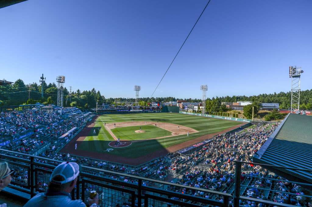 Cheney Stadium under blue skies