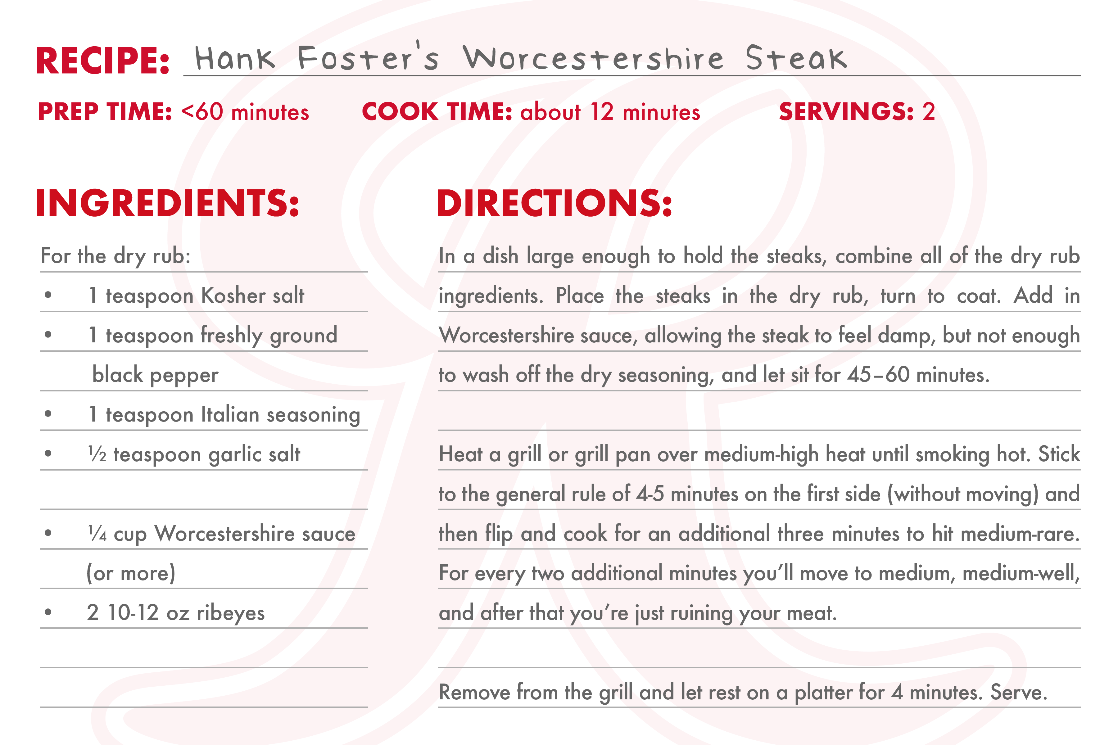 Recipe Card for Hank's Worcestershire Steak
