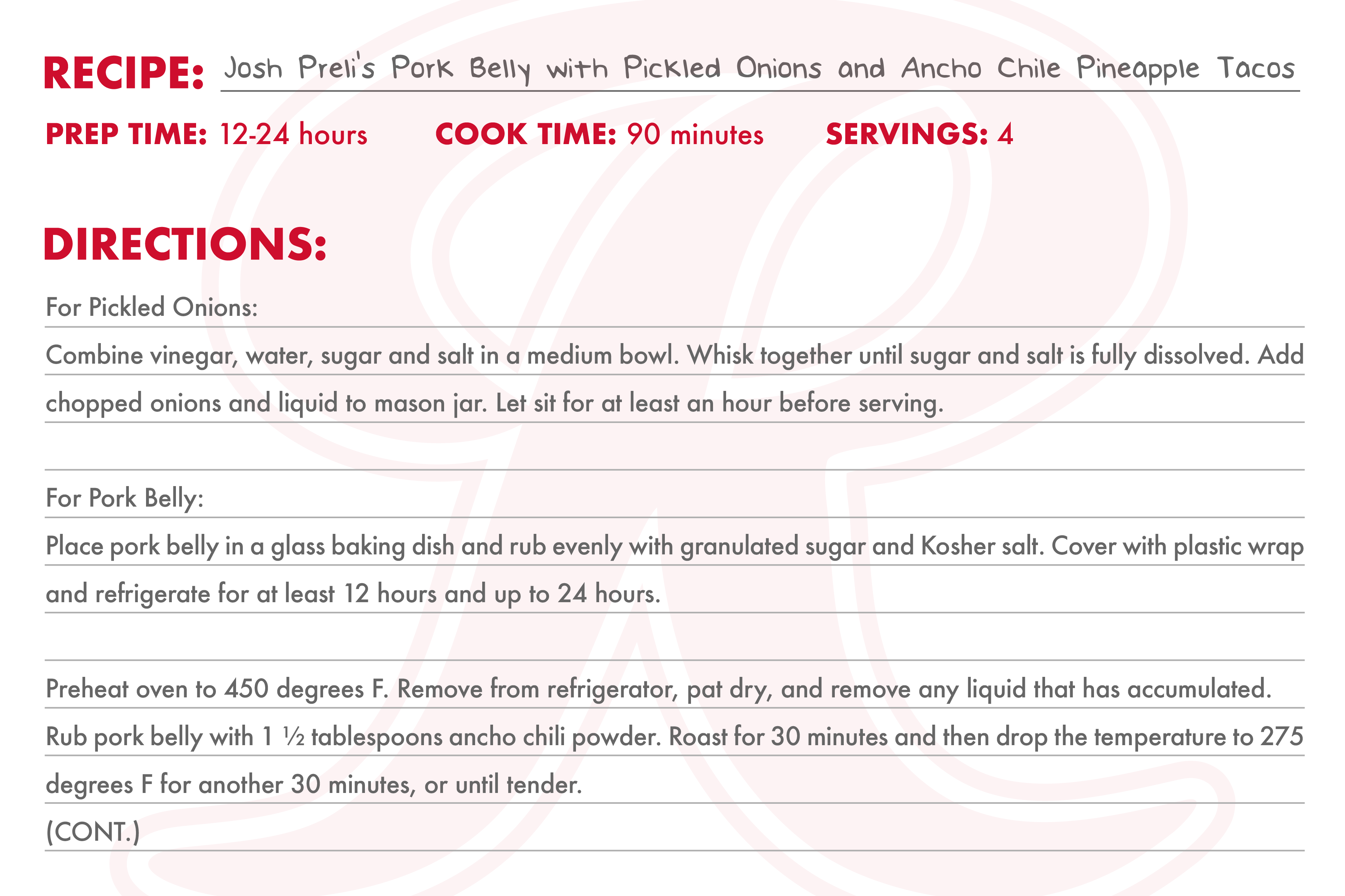Recipe Card 2 for Josh Preli's Pork Belly with Pickled Onions and Ancho Chile Pineapple Tacos
