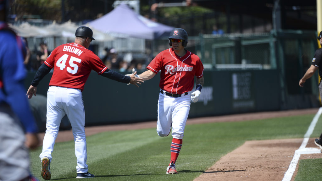 Jose Lobaton celebrating home run