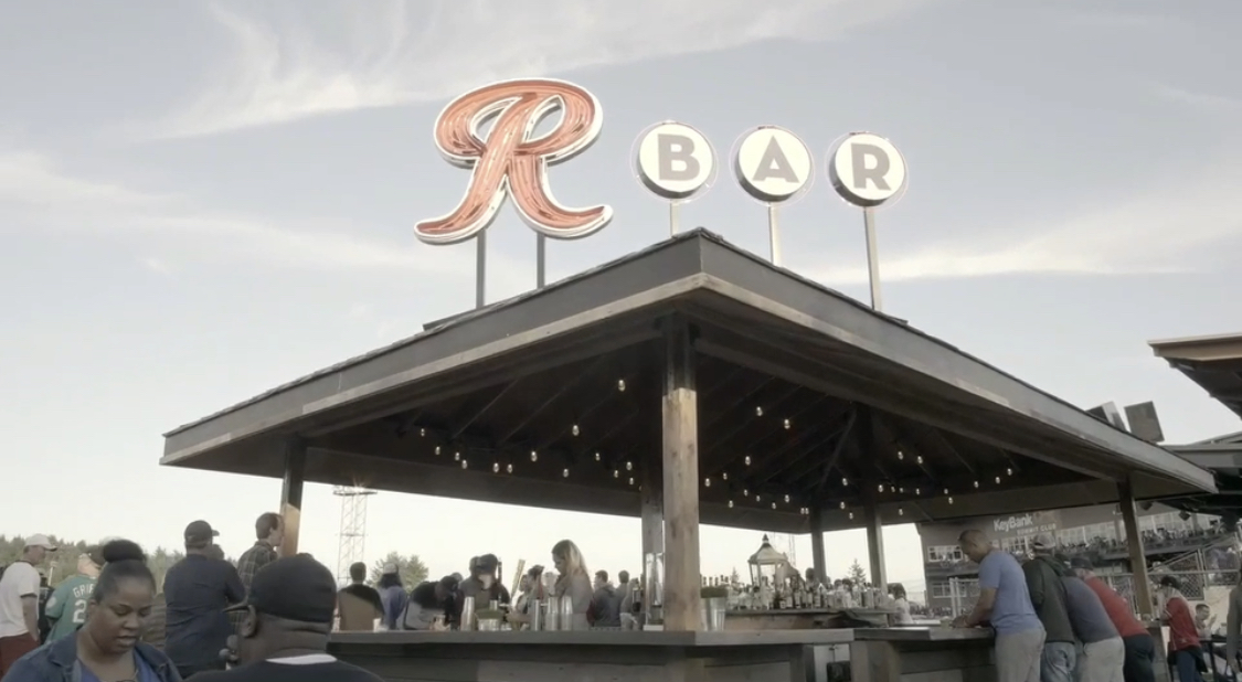 Photo of R Bar with stadium sky behind the roof