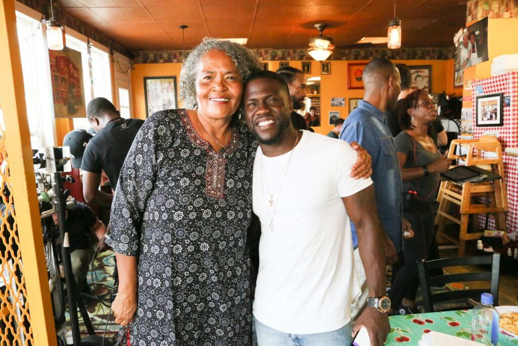 Southern Kitchen owner Gloria Martin with comedian Kevin Hart