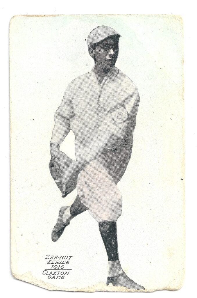Black baseball history: Jimmy Claxton 1916 baseball card printed by Zeenut