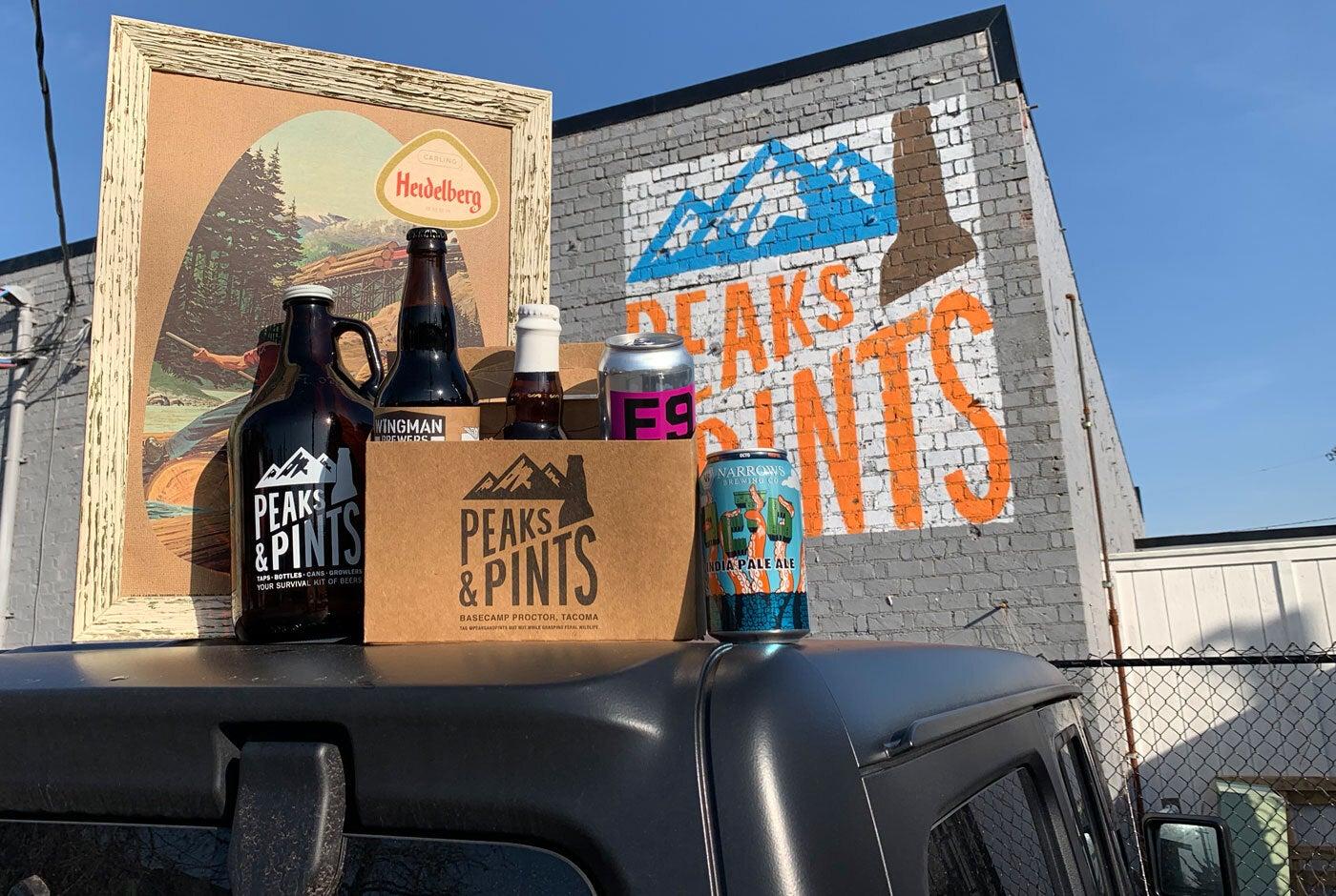 Peaks and Pints beers and growlers