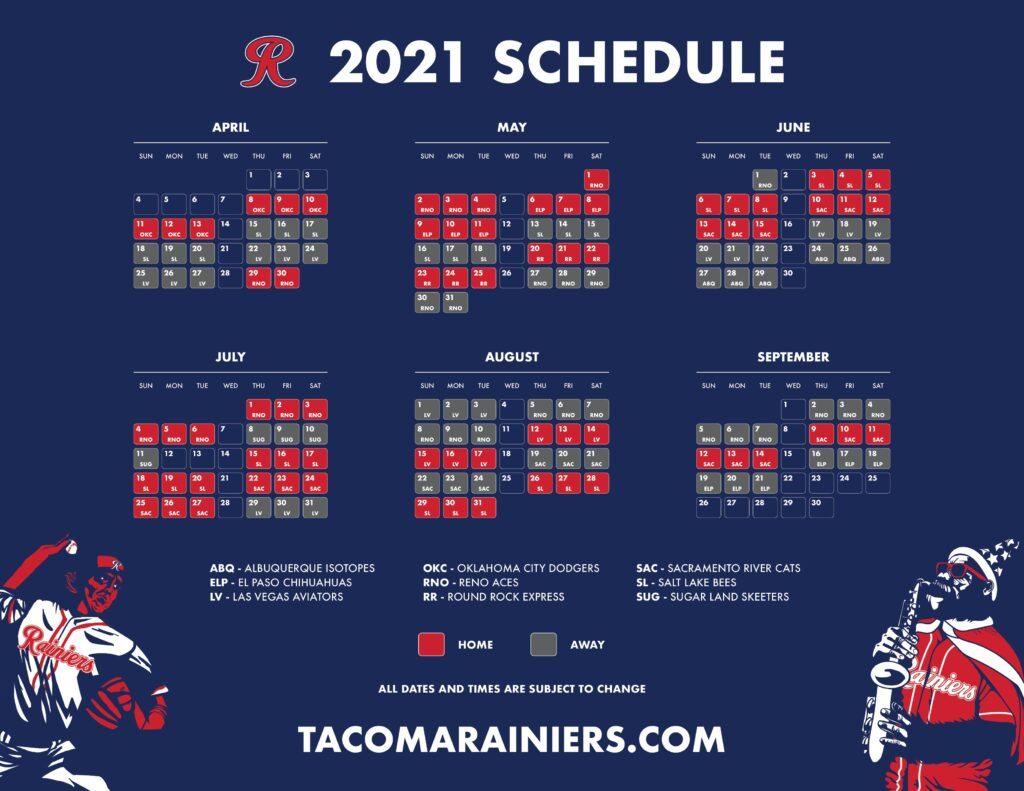 Tacoma Rainiers 2021 Schedule Dates