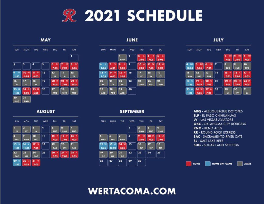 Tacoma Rainiers 2021 Schedule